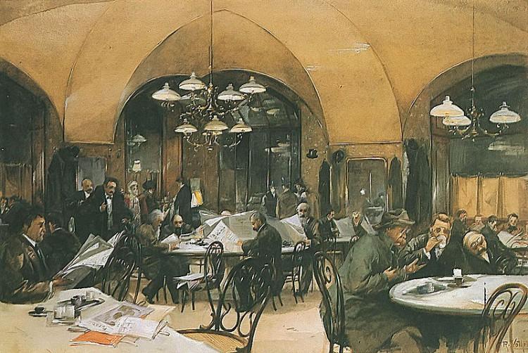 Reinhold Völkel - Café Griensteidl en Viena (1896)