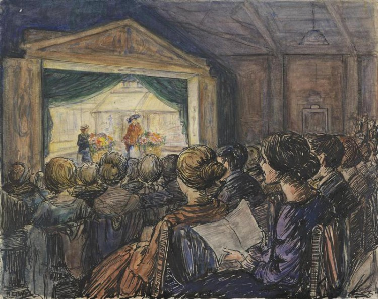 Nellie E. Isaac - At a performance in the canteen theatre : Gordon, Watney & Co., Aeronautical Engineers, Weybridge (191?)