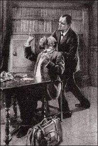 Arthur Conan Doyle – His last bow, ilustración de A. Gilbert (1917)