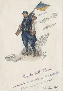 Dibujo hecho por los soldados del 41 Regimiento de Chasseurs à pied, en recuerdo de la visita de Edith Wharton (1915)