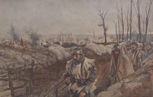 François Flameng – Croquis de guerre, Tranchée dans le village de Souchez (191?)