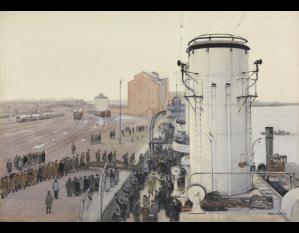 Cecil King - Danzig. Neufahrwasser. Christmas Day 1918 : British prisoners homeward bound boarding «HMS Concord» (1918)