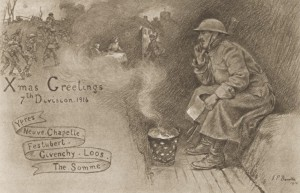 Tarjeta navideña británica de 1916