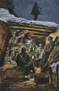 Anónimo - ....E là , nella trincea vigile ed ospitale, inneggia alla vittoria il soldato italiano nel giorno di Natale (1915-1921)