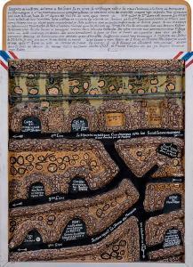 Soldado Amiot - Plano de trincheras (Madera pintada con relieve, 1915)