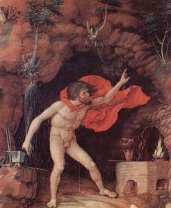 Andrea Mantegna - El Parnaso (detalle: Hefesto), 1497