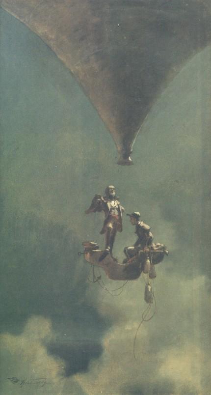Carl Spitzweg – El Artista del proyecto, Paseo en globo (1870-1875)