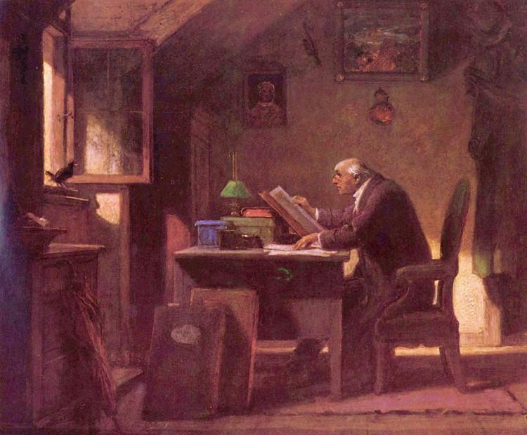 Carl Spitzweg – Una visita (ca. 1850)