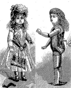 La muñeca-fonógrafo (vestida y mecanismo) inventada por Thomas Edison (1890)