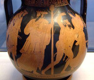 Regreso de Hefesto al Olimpo, vasija griega antigua (S. V a.C.)