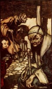 Jonathan Swift – Gulliver's Travels, ilustración de Arthur Rackham (1899), los «Struldbrugs»