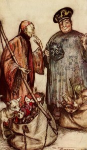 Jonathan Swift – Gulliver's Travels, ilustración de Arthur Rackham (1899), Dos sabios