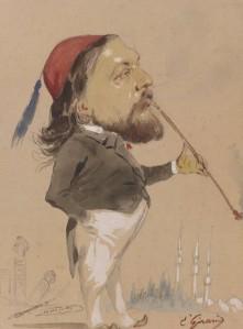 Théophile Gautier, caricatura de Pierre-François-Eugène Giraud (1853-1870).