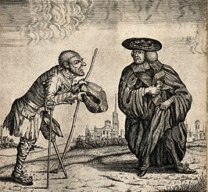 John Collier – Un soldado-mendigo lisiado conversando con un filósofo pluralista (1770)