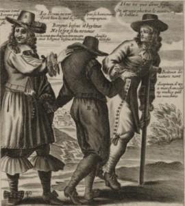 El jorobado no ve su joroba, pero sí las dolencias de su compañero (Estampa del siglo XVII)