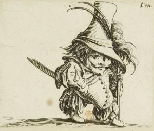 Jacques Callot - Les Gobbi: Hombre de vientre caído y sombrero elevadísimo (162?)