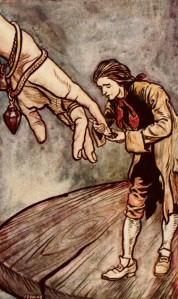 Jonathan Swift – Gulliver's Travels, ilustración de Arthur Rackham (1899)