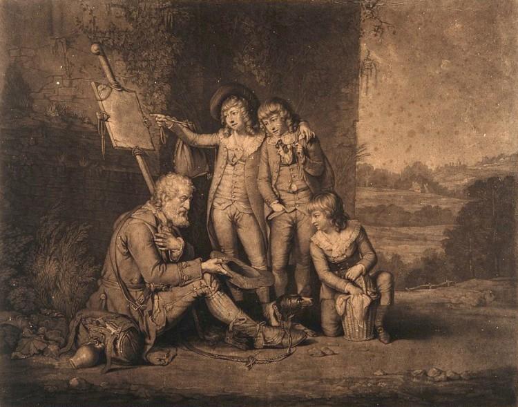 William Redmore Bigg, según John Raphael Smith – Tres jóvenes dándole una limosna a un mendigo ciego (1784)