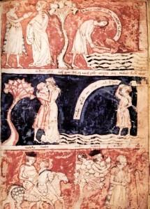 Manuscrito medieval de Tristán e Isolda. Escenas con el enano Frocin