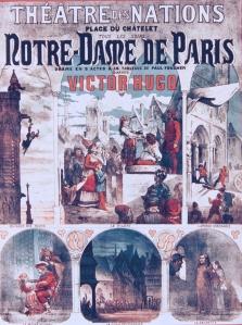 Cartel de la adaptación teatral de Notre-Dame de París (S. XIX)