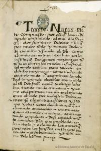 Licenciado Lasso – Tratado legal sobre los mudos, primera página del manuscrito (1550)