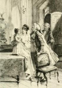 Alfred de Musset - Pierre et Camille, ilustración de François Flameng (1887)