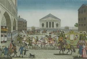 Llegada del emperador Napoleón el Grande a la basílica de Notre-Dame de París, el 15 de agosto de 1807