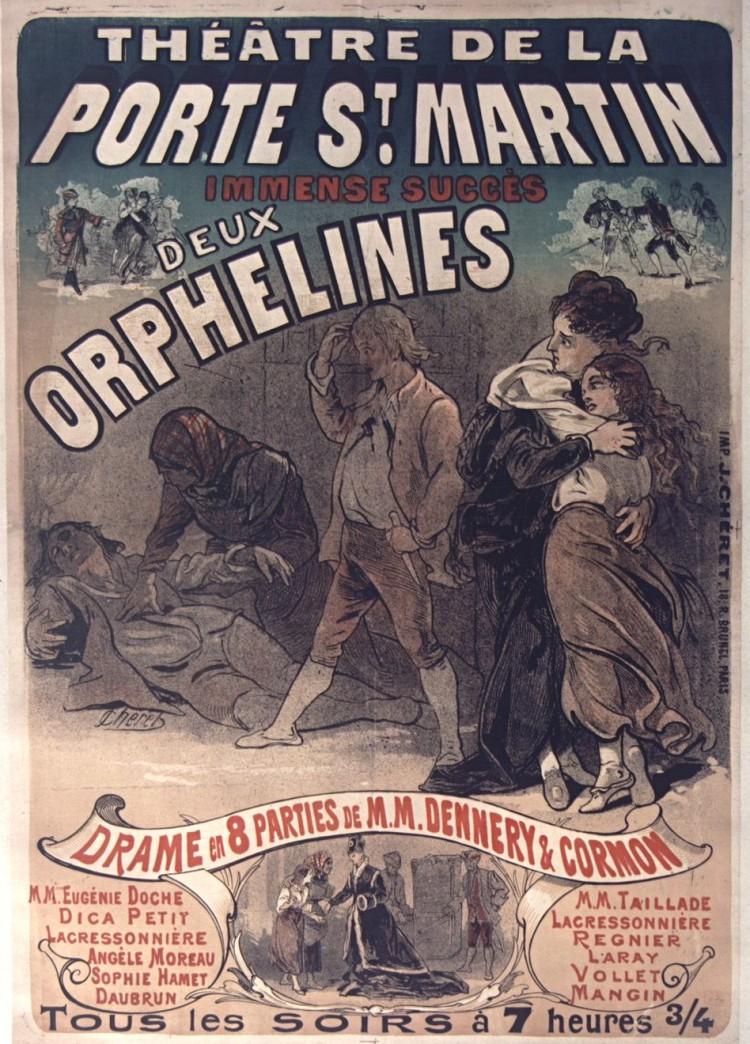 Cartel de 1874 de la versión teatral de «Les Deux Orphelines»