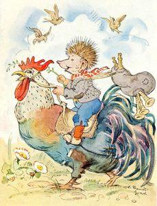 Hermanos Grimm – Juan-mi-erizo, ilustración de Luise Staudt Zoerb (1944)