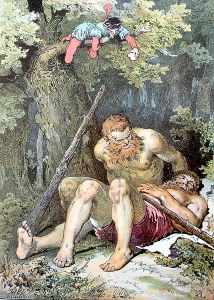 Hermanos Grimm – El Sastrecillo valeroso, ilustración de Alexander Zick (S. XIX)