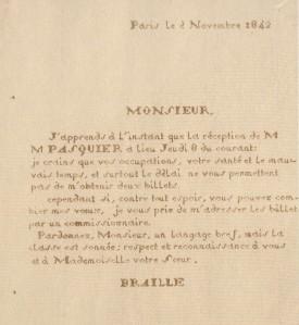 Una carta escrita por Louis Braille en 1842 con un prototipo de «raphigraphe»