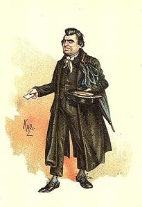 Charles Dickens – Wackford Squeers, en Nicholas Nickleby, ilustración de Phiz (1839)