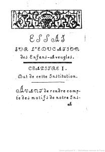 Valentin Haüy - Essai sur l'éducation des aveugles... (1786)