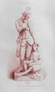 Valentin Haüy y el mendigo ciego, grabado de Léon Gaucherel, según la escultura de Badiou de la Tronchère (1866)