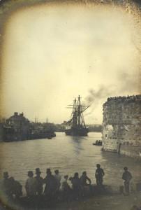 Louis-Cyrus Macaire – Barco saliendo del puerto de Le Havre (1851)