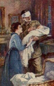 «¡Este hijo que nunca verá!», postal británica de recaudación de ayudas para los hijos de veteranos ciegos (191?)