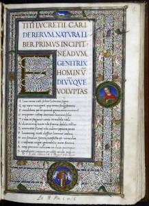 Lucrecio - De rerum natura, manuscrito iluminado, finales del S. XV