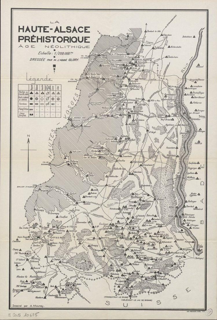 La Haute-Alsace préhistorique, mapa elaborado por André Glory (S. XX)