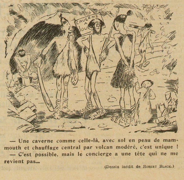 Robert Black - Caverne à louer (1937) - Robert Black (pseudónimo de Robert Lenoir, 1896-1973) fue un pintor, ilustrador y dibujante de prensa, además de artista de music-hall.