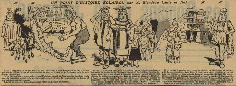 A. Blondeau - Un point d'histoire éclairci (1909) - A. Blondeau fue un dibujante precursor del cómic. Esta historieta de un padre de familia galo y prehistórico en busca de un alojamiento en el que se acepten a sus doce hijos y a sus mascotas, un mamut anciano y un joven diplodocus, tiene unas resonancias curiosamente actuales...