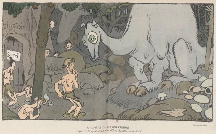 Gus Bofa - Grève à la boucherie (191?) - Gravemente herido en el frente en diciembre de 1914, el artista Gus Bofa (pseudónimo de Gustave Henri Émile Blanchot, 1883-1968) se opuso a que le amputarán de las dos piernas y, durante su larga convalecencia, realizó viñetas para la revista satírica La Baïonette (La Bayoneta), como las dos que presentamos aquí, en las que transpone el contexto bélico de la Primera Guerra Mundial a una ambientación prehistórica. Después de la guerra, Bofa se convirtió en un aclamado ilustrador de ediciones de lujo.