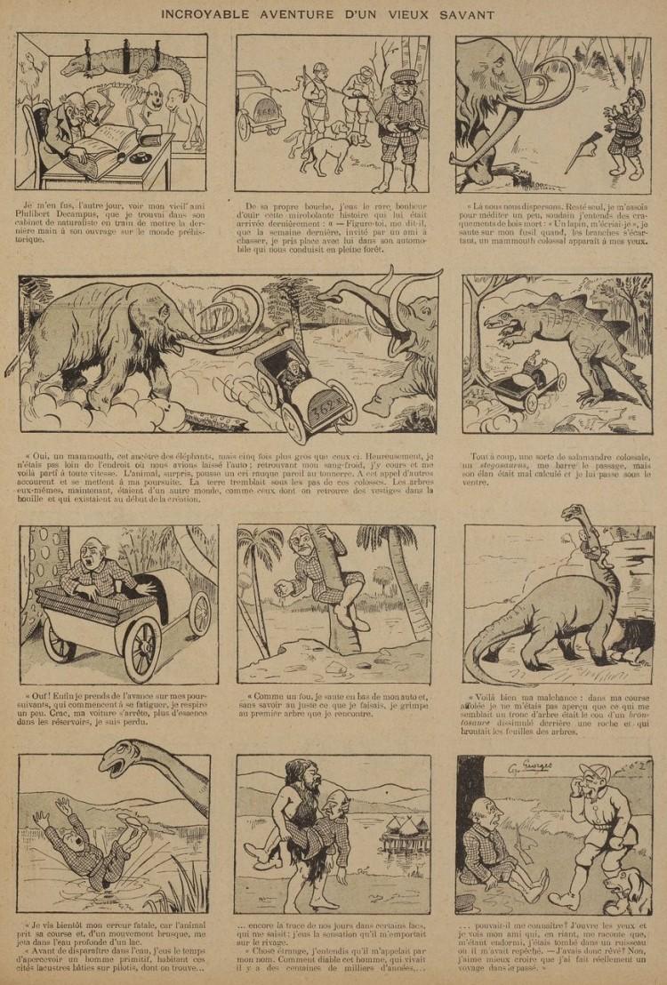 Georges Cyr - Incroyable Aventure d'un vieux savant (1906) - El pintor e ilustrador Georges Cyr (1881-1964) empezó su carrera artística dibujando historietas en diversas revistas. Empieza a exponer en el Salón de los Independientes en 1924 y empieza a ser reconocido. En 1934, un drama familiar le lleva a abandonar Francia y se exilia en Líbano, donde permanecerá hasta su muerte, convirtiéndose en uno de los pioneros del arte moderno de este país.