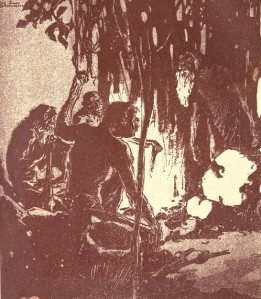 Jack London – The Strength of the strong, ilustración de Dan Sayre Groesbeck (1911)