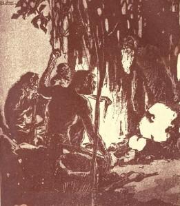 Jack London – The Strength of the strong, ilustración de Dan Sayre Groesbeck (1911)