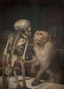 Gabriel von Max – Mono y esqueleto (1900)