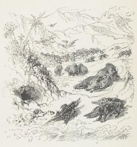 Stop – Fantaisie préhistorique (1877). Stop fue un pintor y grabador francés del siglo XIX, que encontró la fama con sus caricaturas en periódicos. <em>Fantaisie préhistorique</em> forma parte de <em>Bêtes et gens : fables et contes humoristiques à la plume et au crayon<em> (<em>Animales y personas: fábulas y cuentos humorísticos con pluma y lápiz</em>).