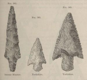 Flechas de silex inglesas, en John Evans - Les Âges de la pierre, instruments, armes et ornements de la Grande-Bretagne (1878)