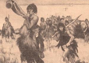 J.H. Rosny aîné – La Guerre du feu, ilustración de Manuel Orazi (1921)