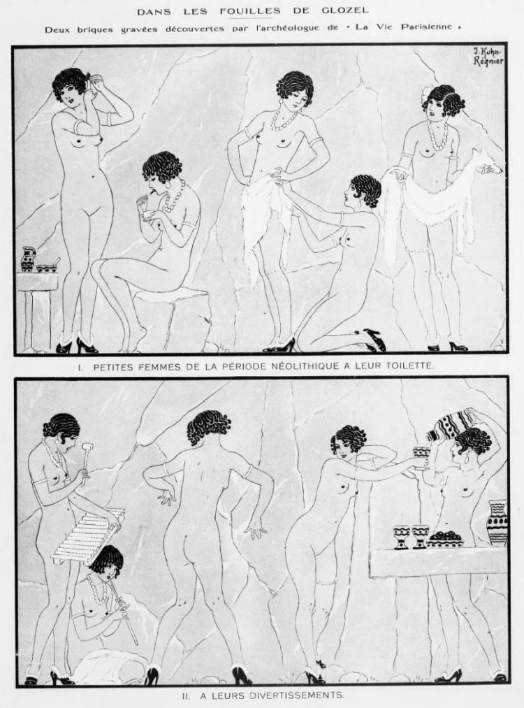 Joseph Kuhn-Régnier - Dans les fouilles de Glozel (1927) - Joseph Kuhn-Régnier (pseudónimo de Walfrid Joseph Louis Kuhn, 1873-1940) fue un ilustrador y cartelista francés