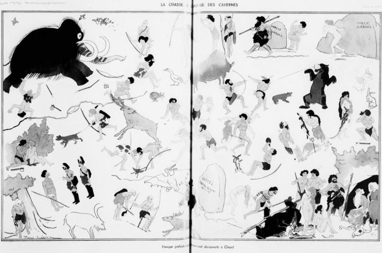 Pierre Lissac - La Chasse à l'époque des cavernes (1930) - Pierre Lissac (1878-1955) fue un pintor, ilustrador, grabador y caricaturista francés